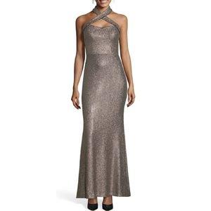 Xscape Crisscross Halter Maxi Dress sz. 2